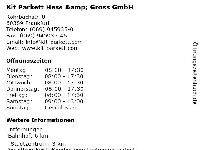 Kit Parkett Hess & Gross GmbH in Frankfurt am Main: Adresse und Öffnungszeiten