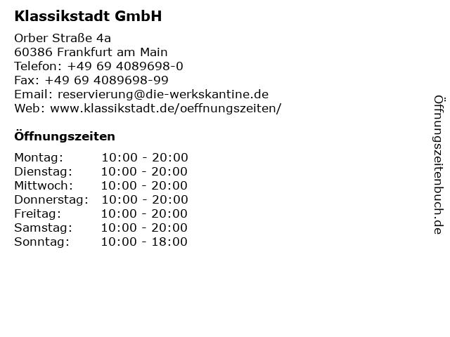 Klassikstadt GmbH in Frankfurt am Main: Adresse und Öffnungszeiten