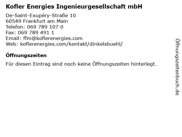Kofler Energies Ingenieurgesellschaft mbH in Frankfurt am Main: Adresse und Öffnungszeiten