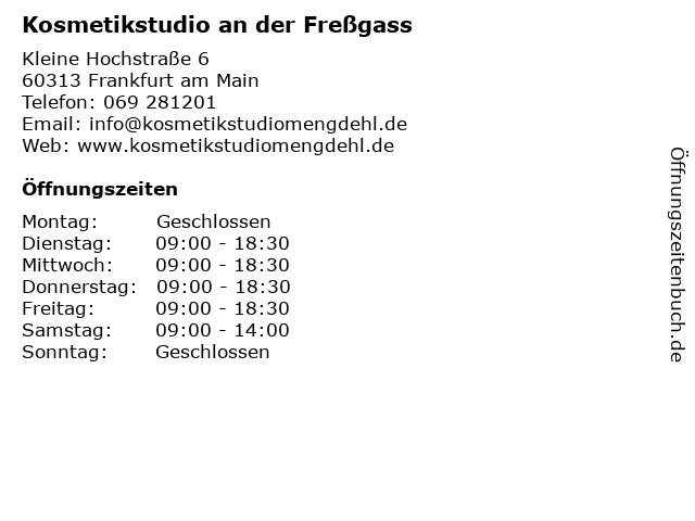 Kosmetikstudio an der Freßgass in Frankfurt am Main: Adresse und Öffnungszeiten