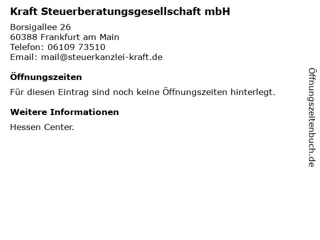 Kraft Steuerberatungsgesellschaft mbH in Frankfurt am Main: Adresse und Öffnungszeiten
