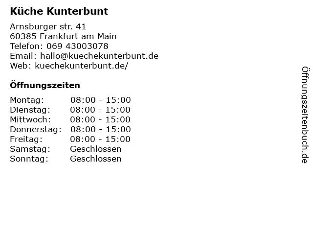 Küche Kunterbunt in Frankfurt am Main: Adresse und Öffnungszeiten