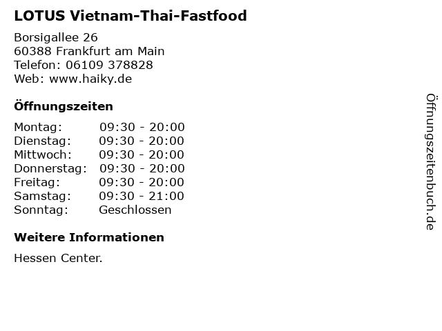 LOTUS Vietnam-Thai-Fastfood in Frankfurt am Main: Adresse und Öffnungszeiten