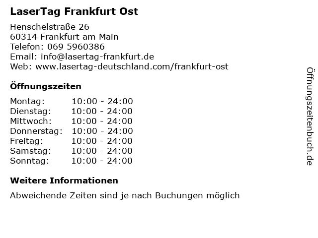 LaserTag Frankfurt Ost in Frankfurt am Main: Adresse und Öffnungszeiten