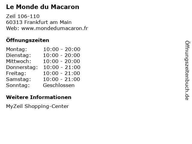 Le Monde du Macaron in Frankfurt am Main: Adresse und Öffnungszeiten