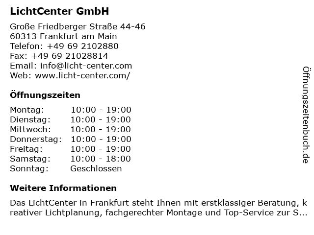 LichtCenter GmbH in Frankfurt am Main: Adresse und Öffnungszeiten