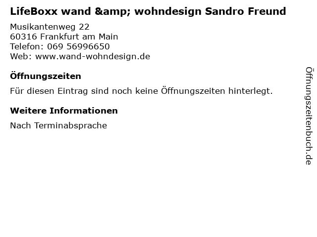 ᐅ Offnungszeiten Lifeboxx Wand Wohndesign Sandro Freund