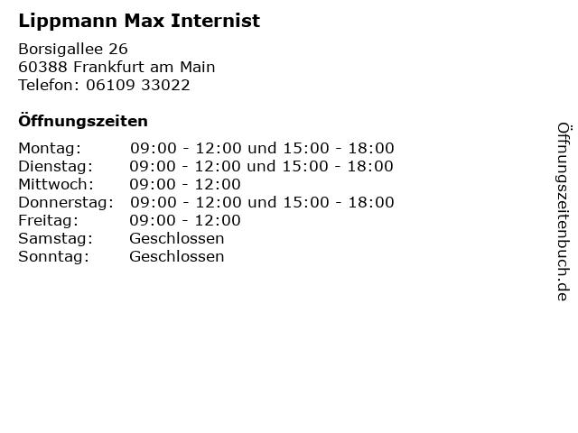 Lippmann, Dr. med. Heike in Frankfurt am Main: Adresse und Öffnungszeiten