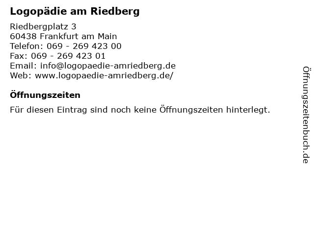 Logopädie am Riedberg in Frankfurt am Main: Adresse und Öffnungszeiten