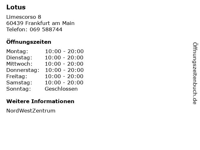 Lotus in Frankfurt am Main: Adresse und Öffnungszeiten
