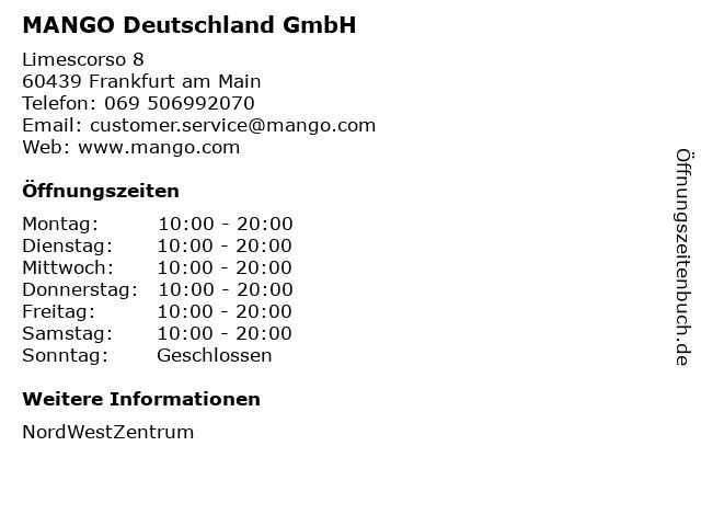 MANGO Deutschland GmbH in Frankfurt am Main: Adresse und Öffnungszeiten