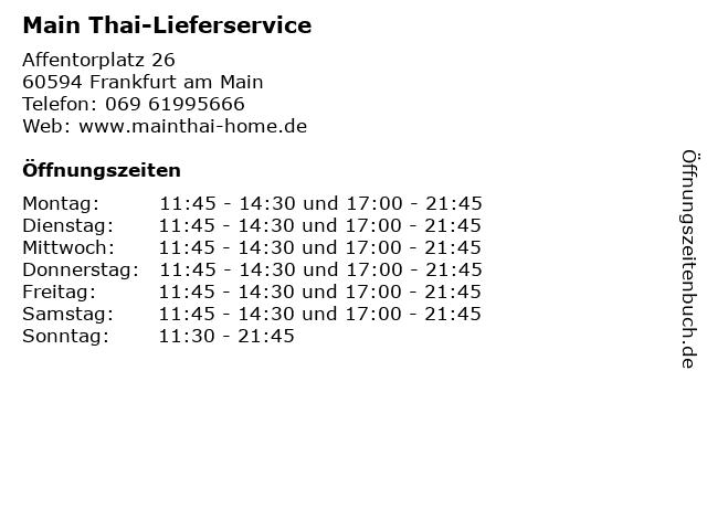 Main Thai-Lieferservice in Frankfurt am Main: Adresse und Öffnungszeiten