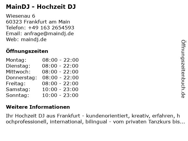MainDJ - Hochzeit DJ in Frankfurt am Main: Adresse und Öffnungszeiten
