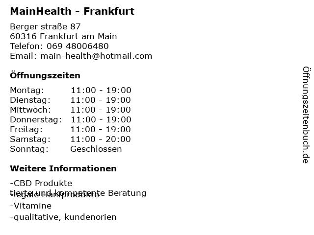 Mister Cannabis Frankfurt - CBD Shop Frankfurt in Frankfurt am Main: Adresse und Öffnungszeiten