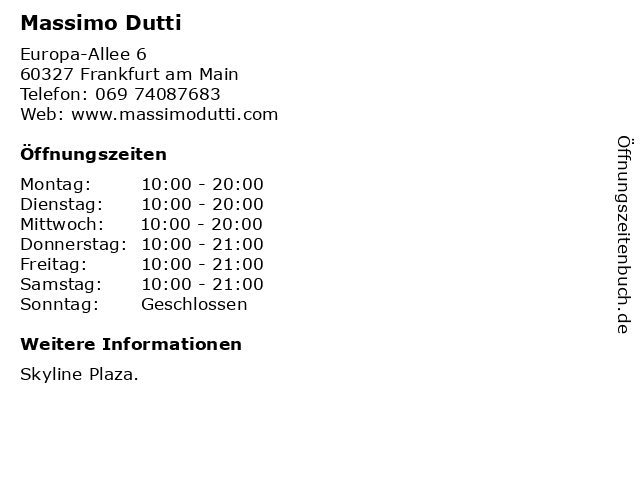 Massimo Dutti in Frankfurt am Main: Adresse und Öffnungszeiten
