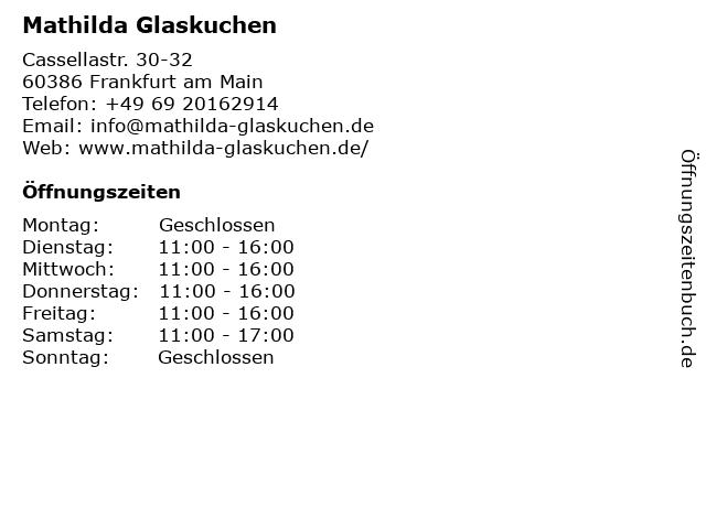 Mathilda Glaskuchen in Frankfurt am Main: Adresse und Öffnungszeiten