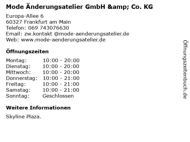Mode Änderungsatelier GmbH & Co. KG in Frankfurt am Main: Adresse und Öffnungszeiten