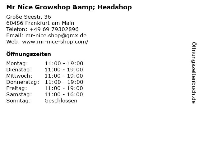 Mr Nice Growshop & Headshop in Frankfurt am Main: Adresse und Öffnungszeiten