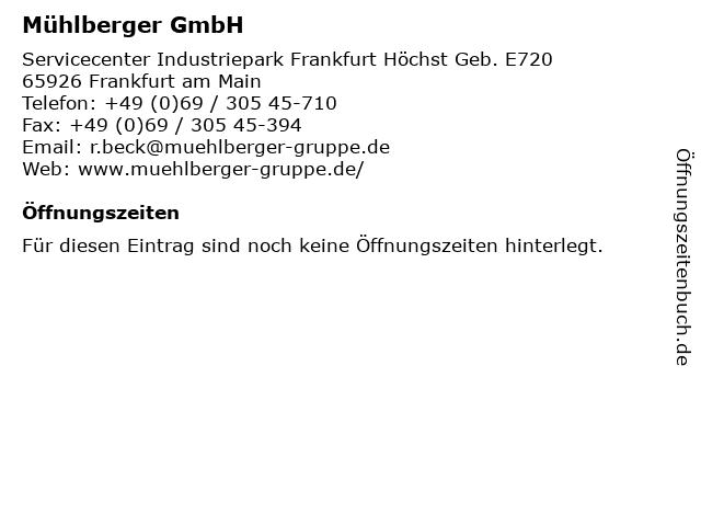 Mühlberger GmbH in Frankfurt am Main: Adresse und Öffnungszeiten