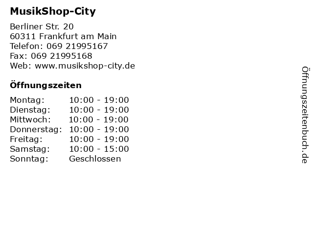MusikShop-City in Frankfurt am Main: Adresse und Öffnungszeiten
