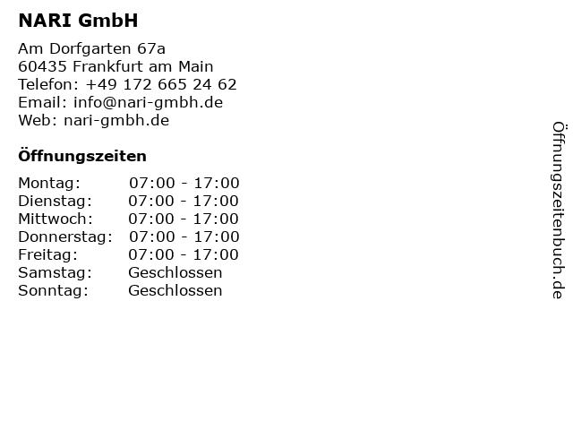 NARI GmbH in Frankfurt am Main: Adresse und Öffnungszeiten