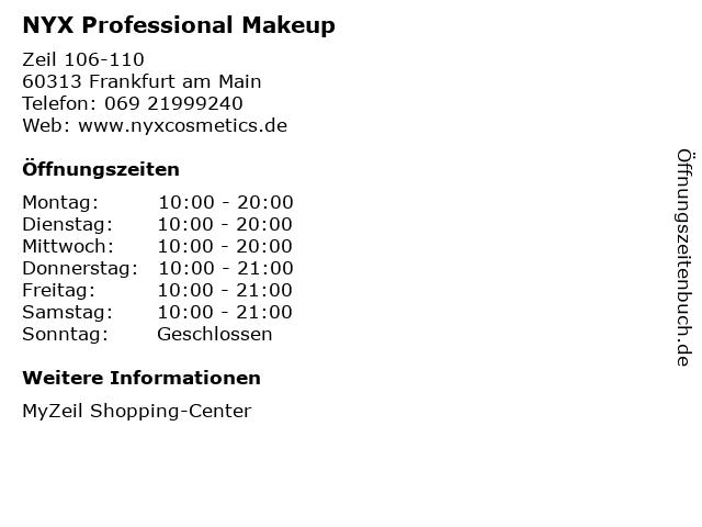 NYX Professional Makeup in Frankfurt am Main: Adresse und Öffnungszeiten