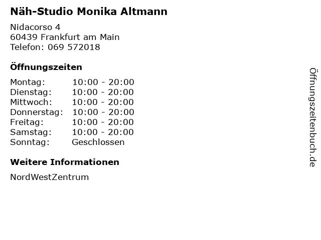 Näh-Studio Monika Altmann in Frankfurt am Main: Adresse und Öffnungszeiten