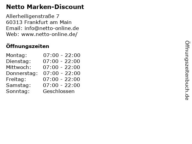 Netto Filiale in Frankfurt am Main: Adresse und Öffnungszeiten