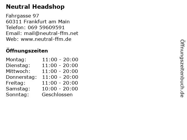 Neutral Headshop in Frankfurt am Main: Adresse und Öffnungszeiten