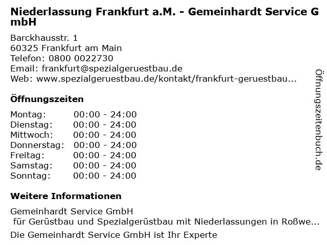 Niederlassung Frankfurt a.M. - Gemeinhardt Service GmbH in Frankfurt am Main: Adresse und Öffnungszeiten