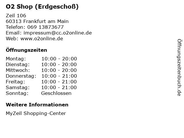 O2 Shop (Erdgeschoß) in Frankfurt am Main: Adresse und Öffnungszeiten