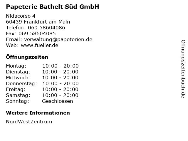 Papeterie Bathelt Süd GmbH in Frankfurt am Main: Adresse und Öffnungszeiten