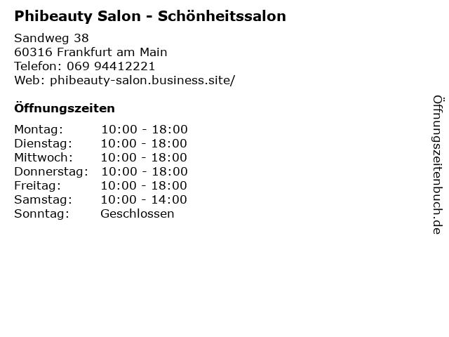 Phibeauty Salon in Frankfurt am Main: Adresse und Öffnungszeiten