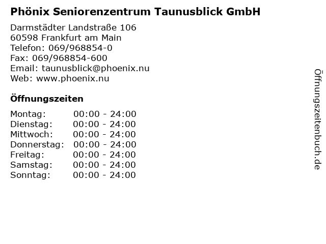 Phönix Seniorenzentrum Taunusblick GmbH in Frankfurt am Main: Adresse und Öffnungszeiten