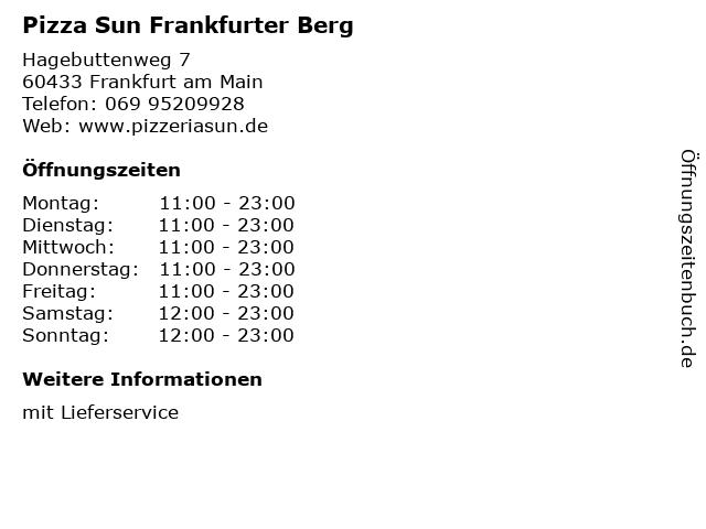 Pizza Sun Frankfurter Berg in Frankfurt am Main: Adresse und Öffnungszeiten