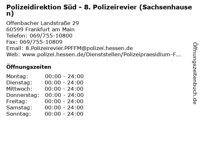 Polizeidirektion Süd - 8. Polizeirevier (Sachsenhausen) in Frankfurt am Main: Adresse und Öffnungszeiten