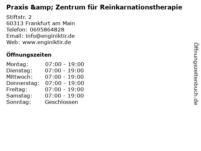 Praxis & Zentrum für Reinkarnationstherapie in Frankfurt am Main: Adresse und Öffnungszeiten