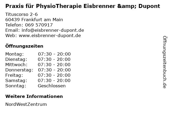 Praxis für PhysioTherapie Eisbrenner & Dupont in Frankfurt am Main: Adresse und Öffnungszeiten