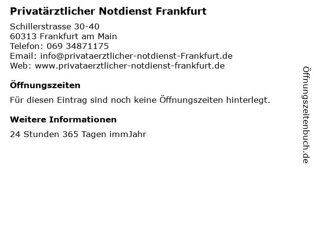 Privatärztlicher Notdienst Frankfurt in Frankfurt am Main: Adresse und Öffnungszeiten