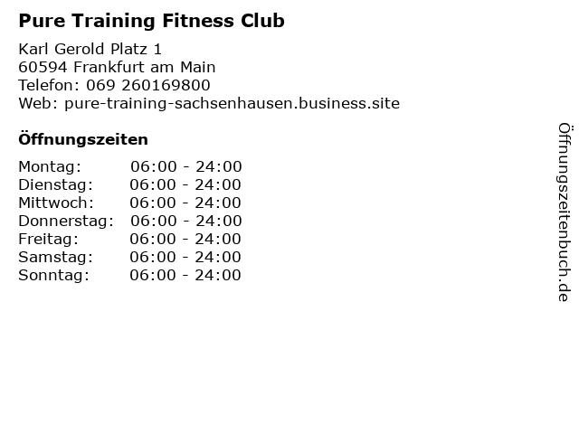 Pure Training Fitness Club in Frankfurt am Main: Adresse und Öffnungszeiten