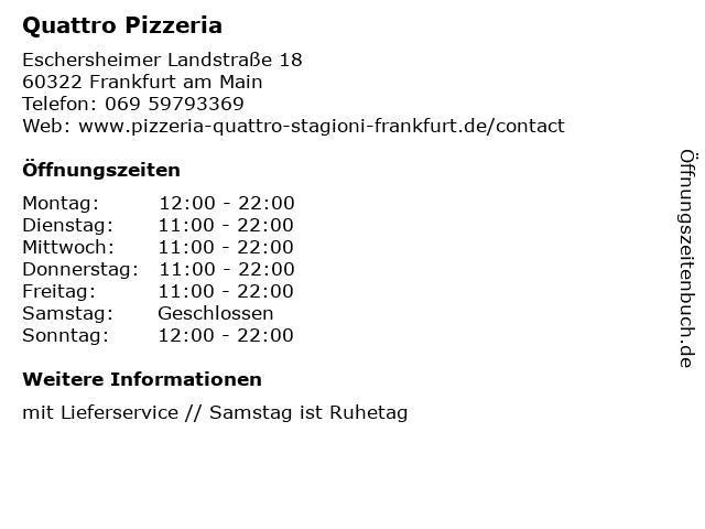 Quattro Pizzeria in Frankfurt am Main: Adresse und Öffnungszeiten