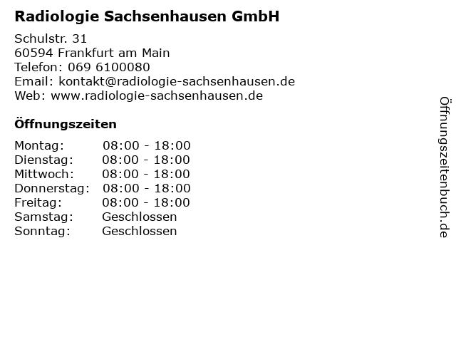 Radiologie Sachsenhausen GmbH in Frankfurt am Main: Adresse und Öffnungszeiten
