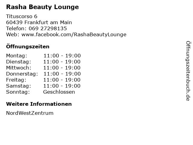 Rasha Beauty Lounge in Frankfurt am Main: Adresse und Öffnungszeiten
