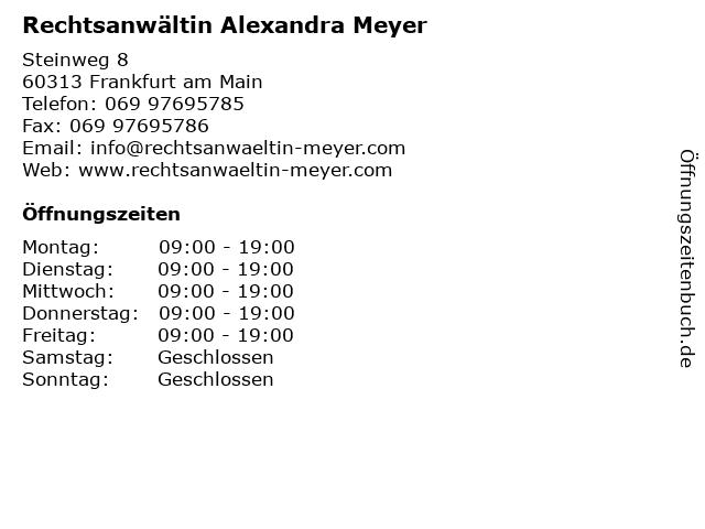 Rechtsanwältin Alexandra Meyer in Frankfurt am Main: Adresse und Öffnungszeiten