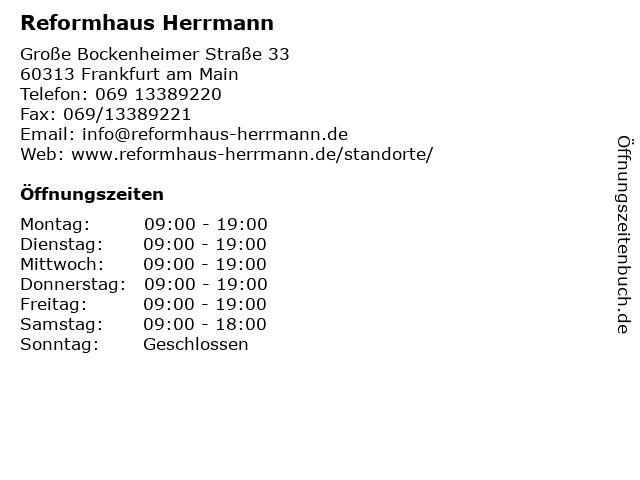 Reformhaus FREYA KG in Frankfurt am Main: Adresse und Öffnungszeiten