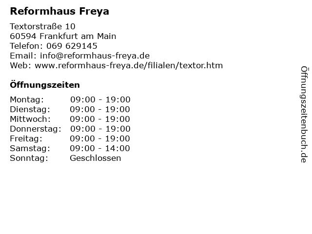 Reformhaus Freya in Frankfurt am Main: Adresse und Öffnungszeiten