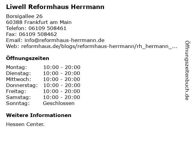 Reformhaus Herrmann KG in Frankfurt am Main: Adresse und Öffnungszeiten