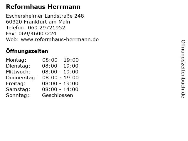 Reformhaus Herrmann in Frankfurt am Main: Adresse und Öffnungszeiten