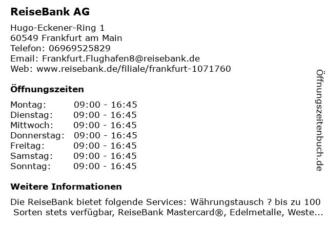 ReiseBank AG in Frankfurt am Main: Adresse und Öffnungszeiten