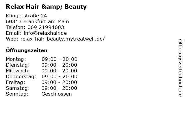 Relax Hair & Beauty in Frankfurt am Main: Adresse und Öffnungszeiten